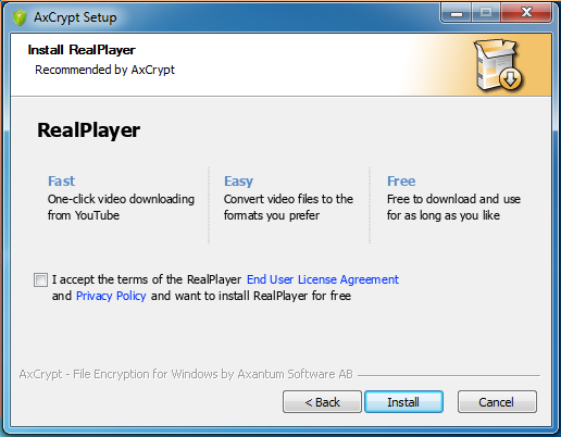 Avoiding RealPlayer install.
