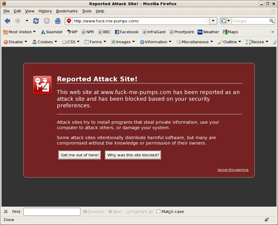 Screenshot of Firefox warning screen
