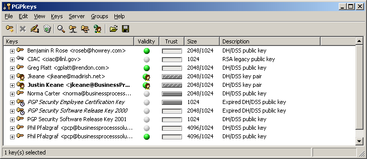 Screenshot of PGP keyring