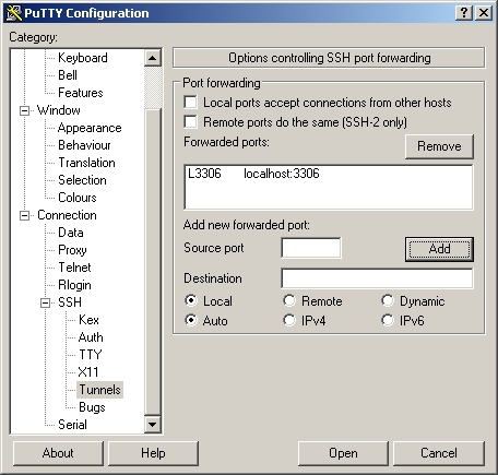 PuTTY port forwarding