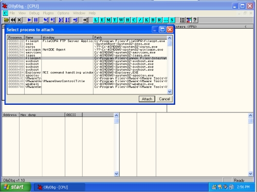 Attaching the FileCOPA process in Olly Debug
